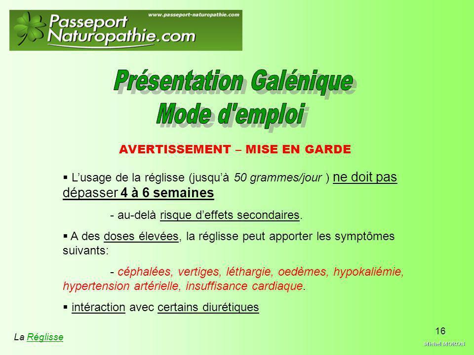 Michel MORON Présentation Galénique Mode d emploi