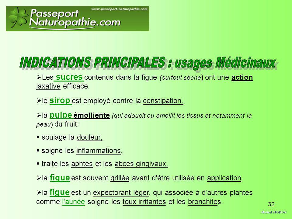 INDICATIONS PRINCIPALES : usages Médicinaux