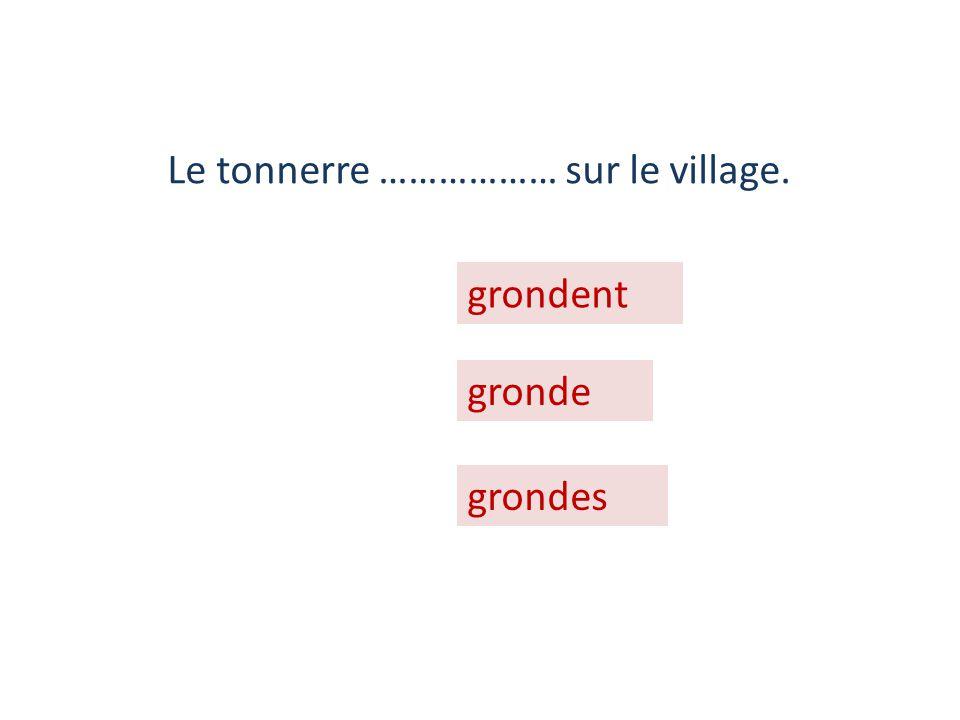Le tonnerre ……………… sur le village.