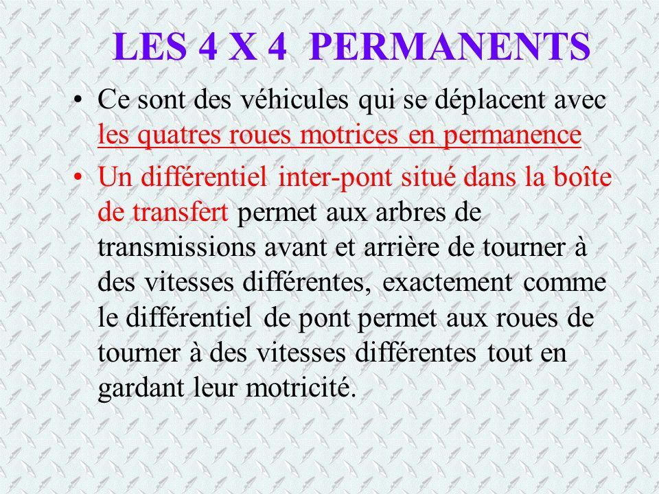LES 4 X 4 PERMANENTS Ce sont des véhicules qui se déplacent avec les quatres roues motrices en permanence.