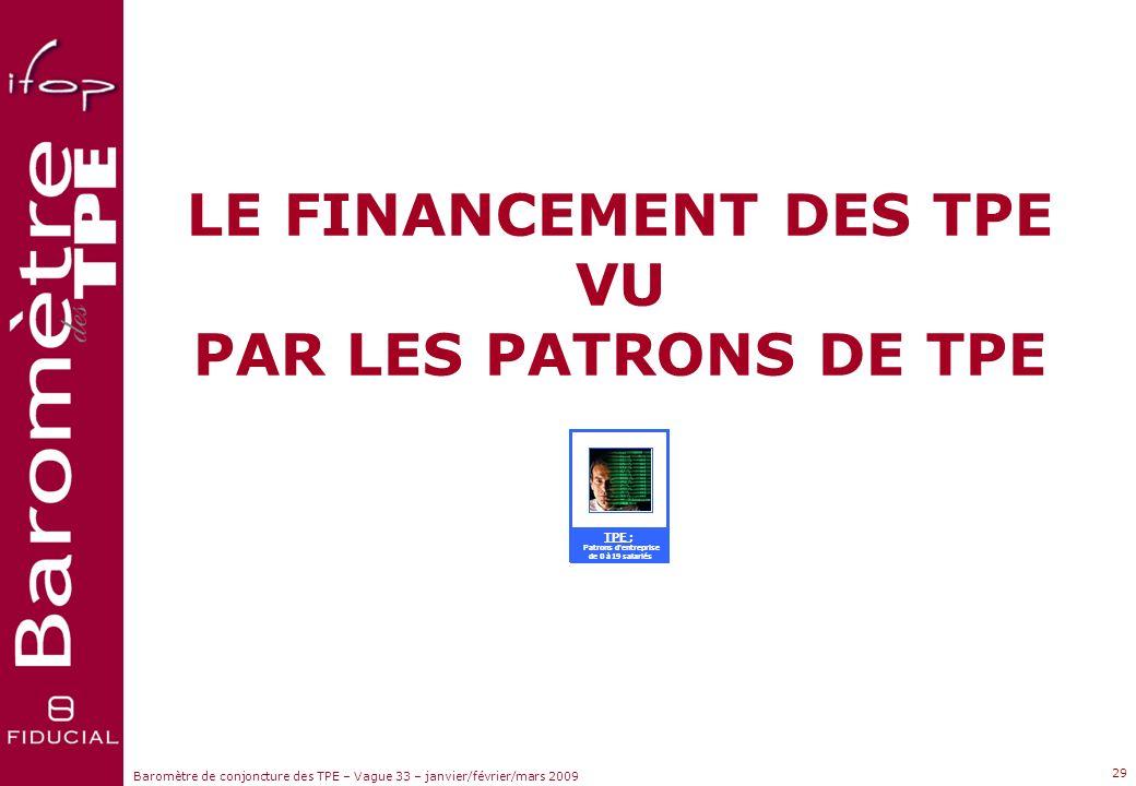 LE FINANCEMENT DES TPE VU
