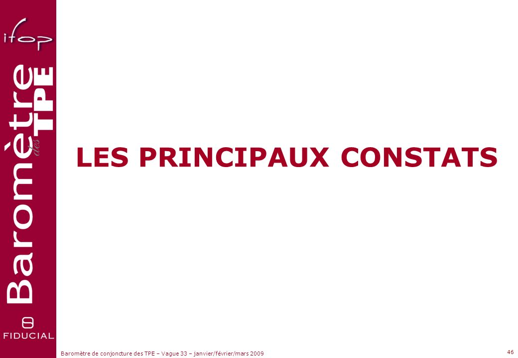 LES PRINCIPAUX CONSTATS