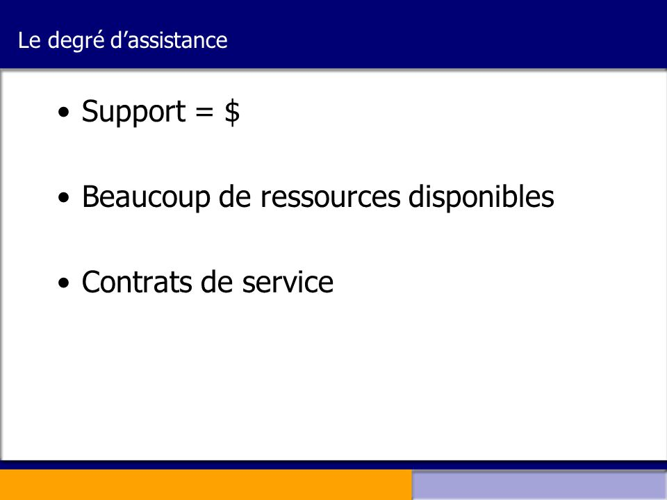 Beaucoup de ressources disponibles Contrats de service