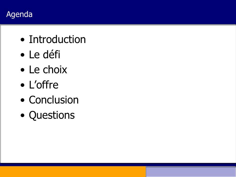 Agenda Introduction Le défi Le choix L'offre Conclusion Questions