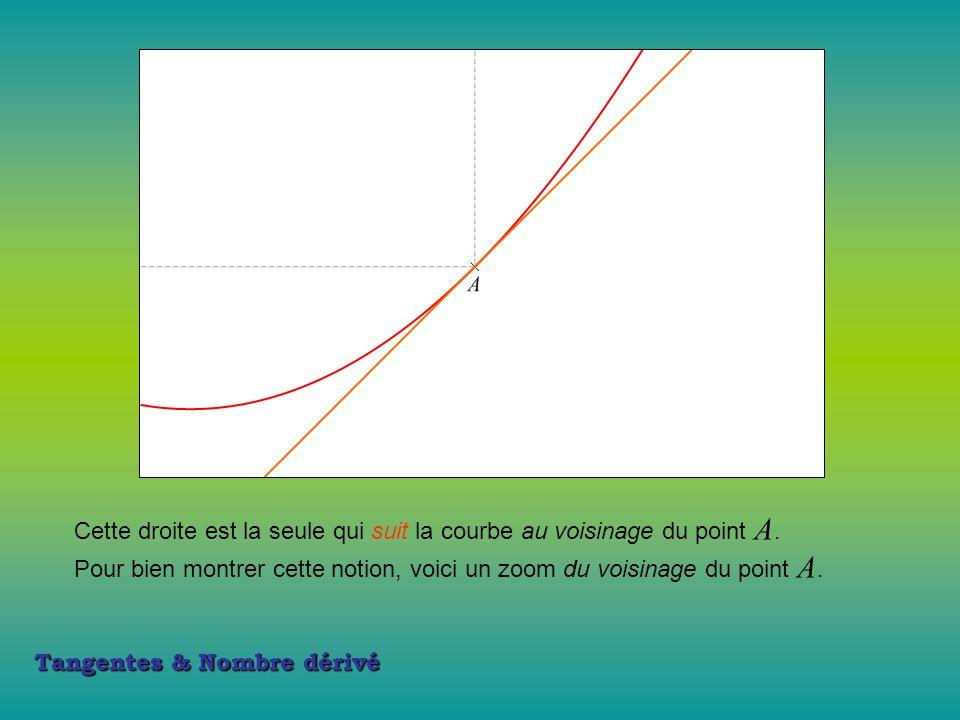 Cette droite est la seule qui suit la courbe au voisinage du point A.