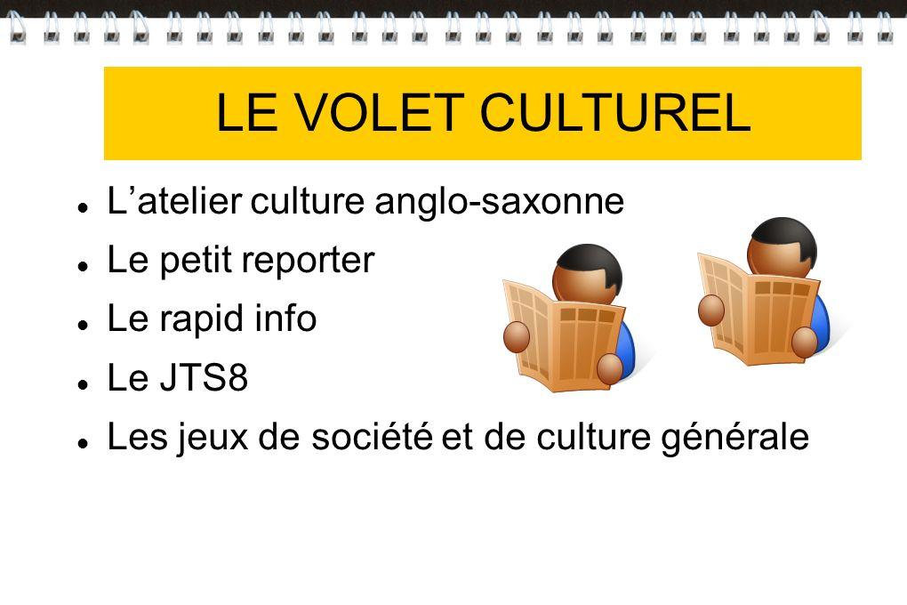 VOLET CULTUREL LE VOLET CULTUREL L'atelier culture anglo-saxonne