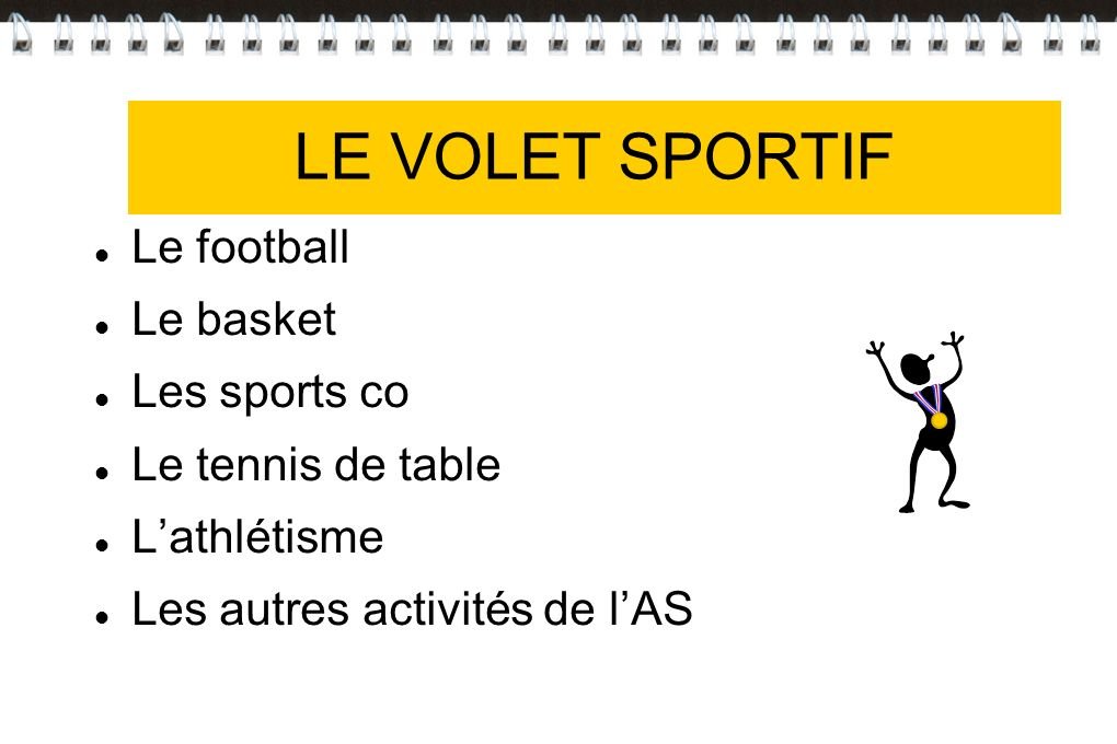 VOLET SPORTIF LE VOLET SPORTIF Le football Le basket Les sports co