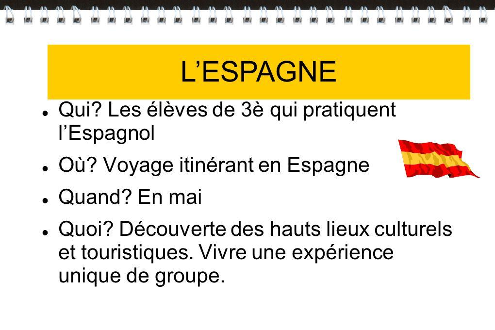 L'ESPAGNE L'ESPAGNE Qui Les élèves de 3è qui pratiquent l'Espagnol