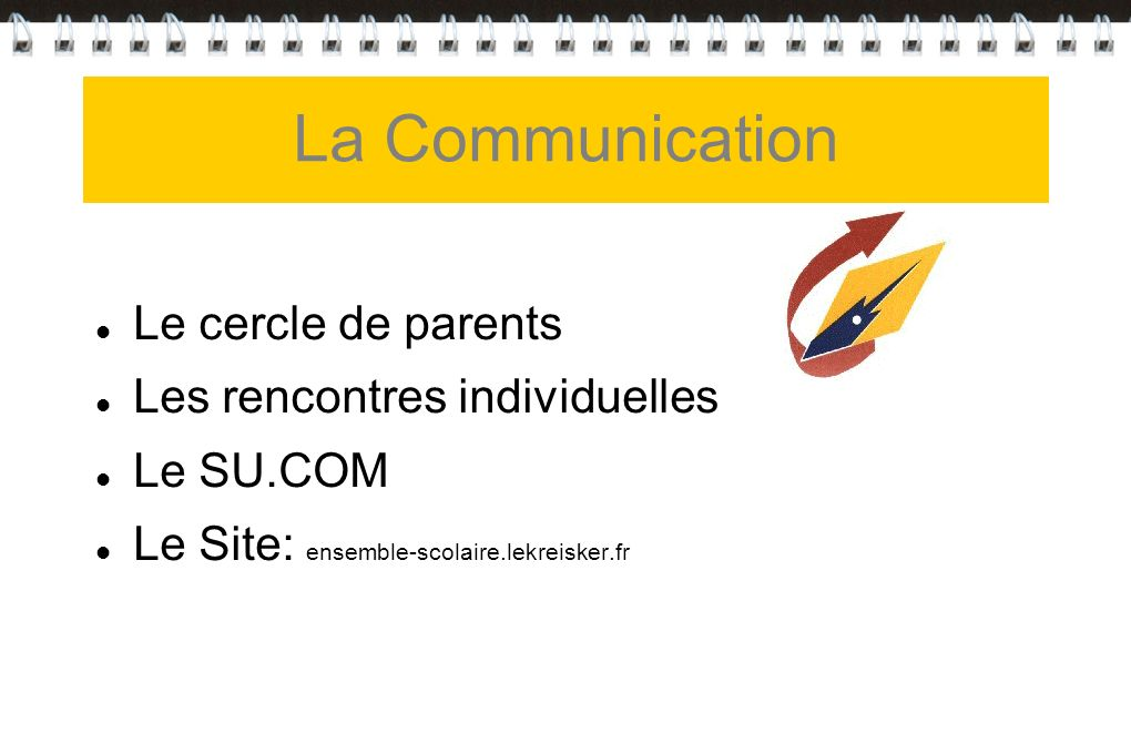 La Communication Le cercle de parents Les rencontres individuelles
