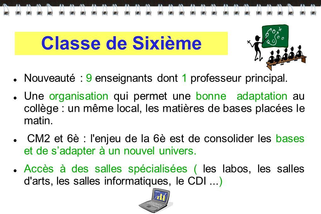Classe de Sixième Nouveauté : 9 enseignants dont 1 professeur principal.