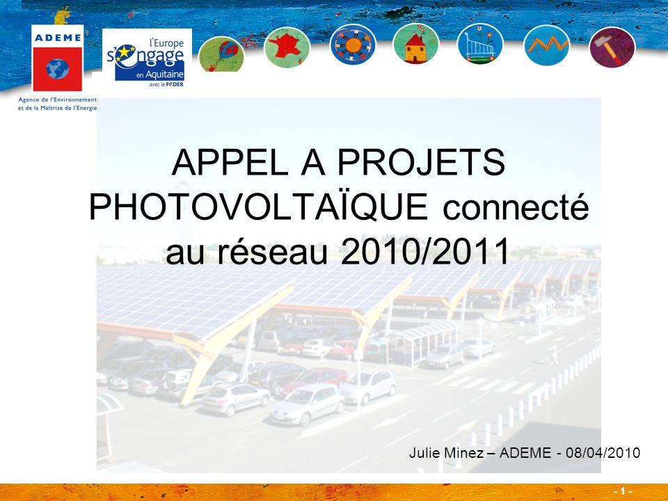 APPEL A PROJETS PHOTOVOLTAÏQUE connecté au réseau 2010/2011