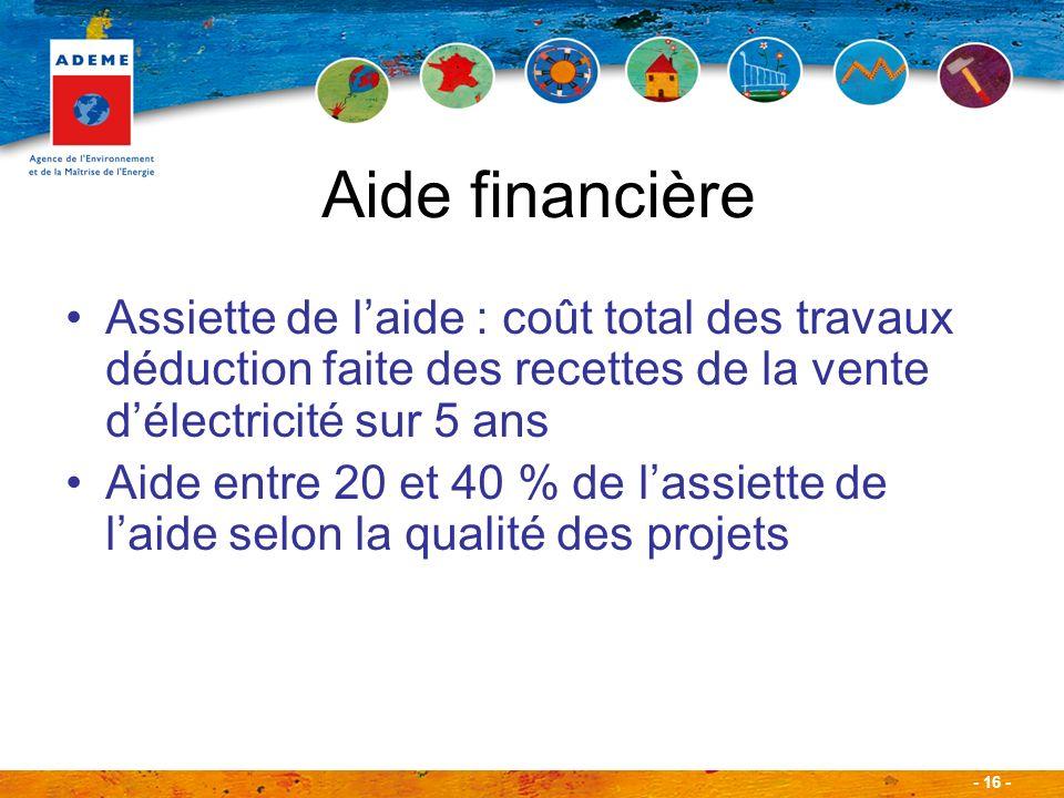 Aide financière Assiette de l'aide : coût total des travaux déduction faite des recettes de la vente d'électricité sur 5 ans.