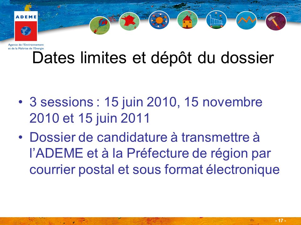 Dates limites et dépôt du dossier