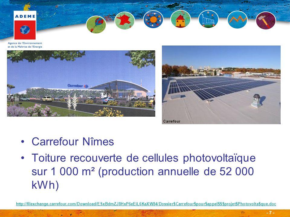 Carrefour Nîmes Toiture recouverte de cellules photovoltaïque sur 1 000 m² (production annuelle de 52 000 kWh)