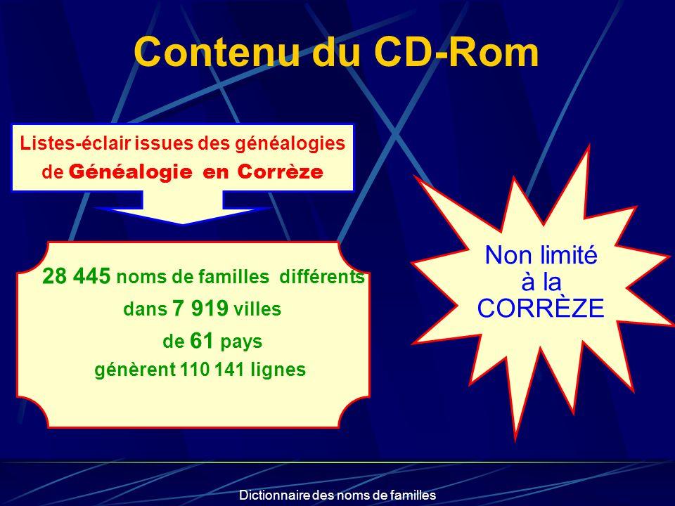 Contenu du CD-Rom Non limité à la CORRÈZE