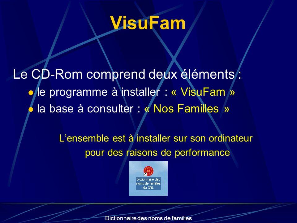 VisuFam Le CD-Rom comprend deux éléments :
