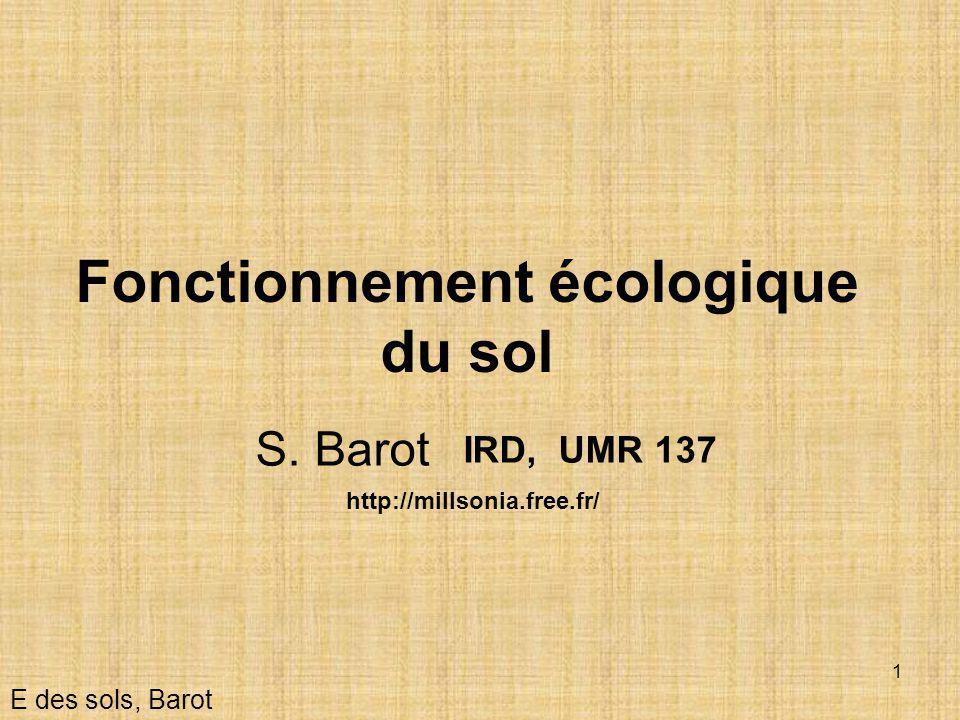 Fonctionnement écologique du sol