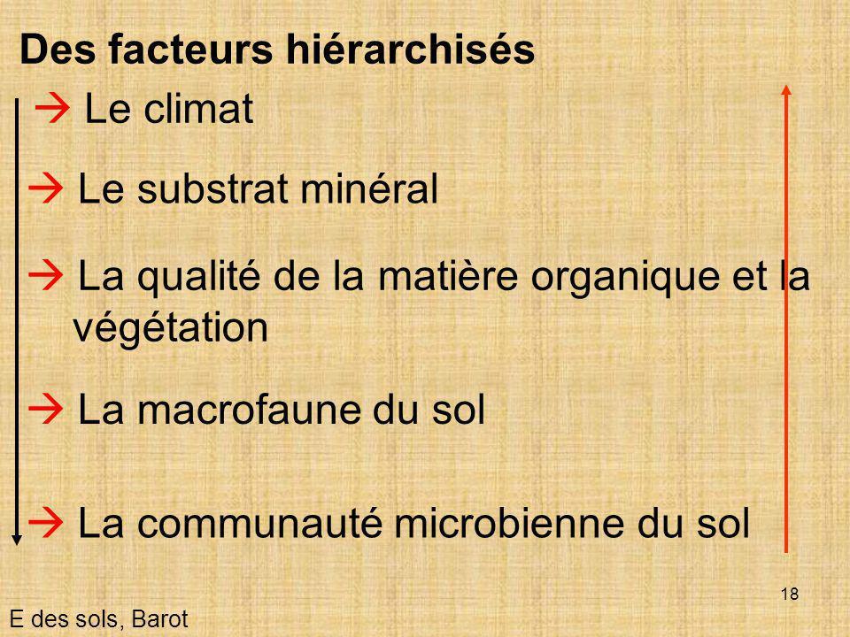 Des facteurs hiérarchisés  Le climat