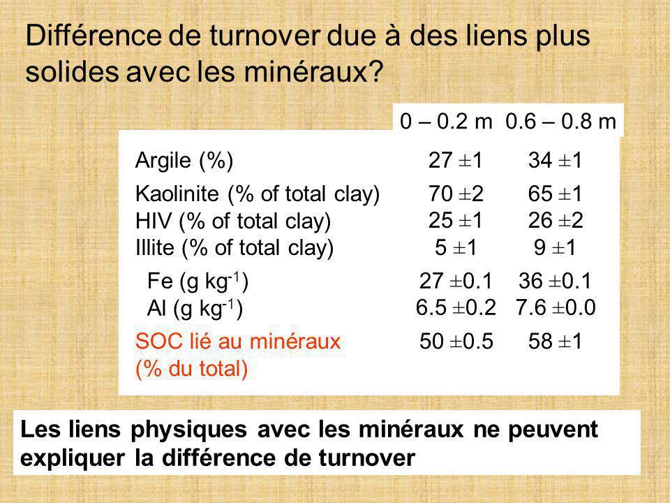 Différence de turnover due à des liens plus solides avec les minéraux