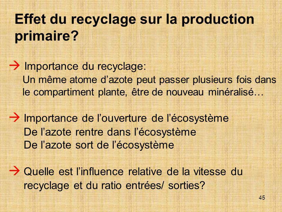 Effet du recyclage sur la production primaire