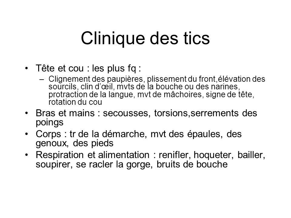 Clinique des tics Tête et cou : les plus fq :
