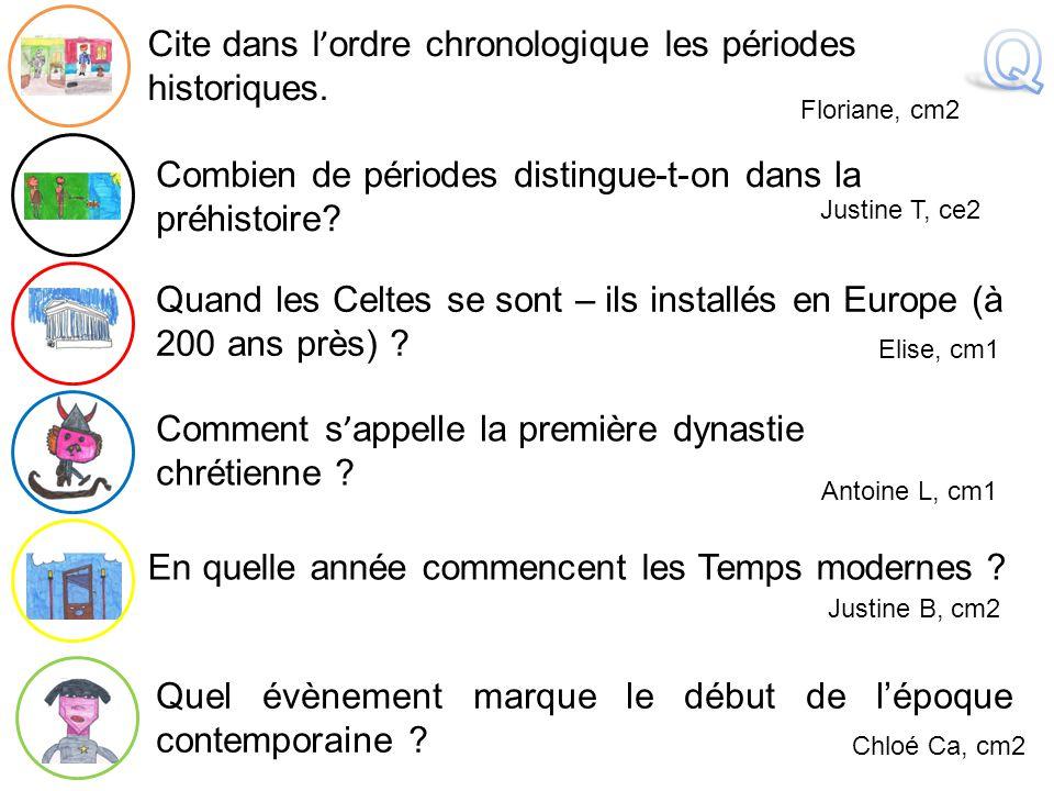 Q Cite dans l'ordre chronologique les périodes historiques.