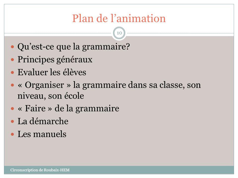 Plan de l'animation Qu'est-ce que la grammaire Principes généraux