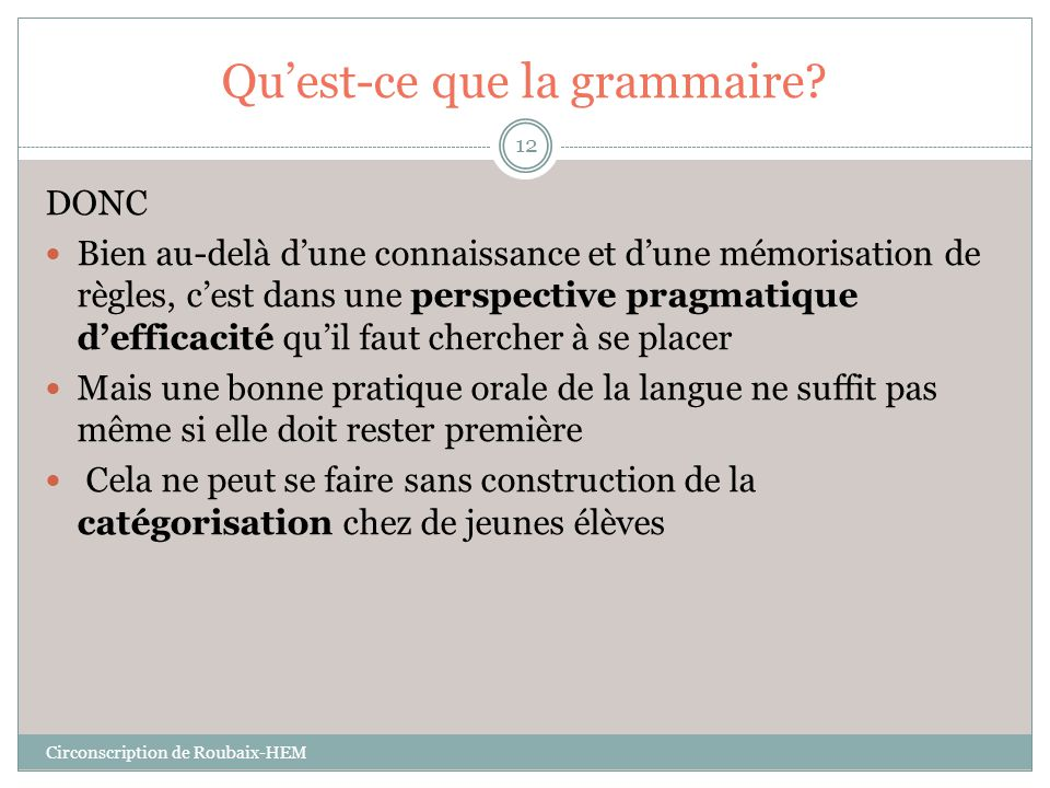 Qu'est-ce que la grammaire