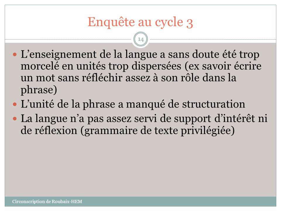 Enquête au cycle 3