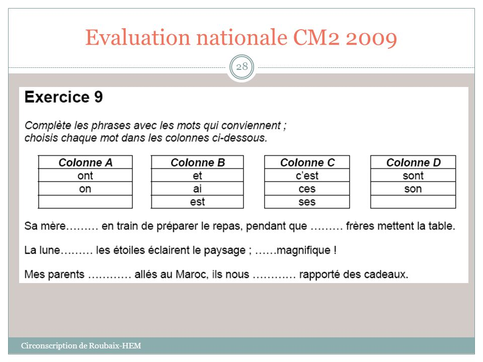 Evaluation nationale CM2 2009