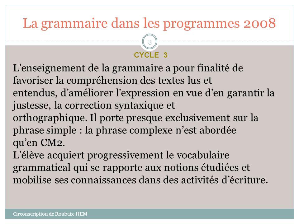 La grammaire dans les programmes 2008
