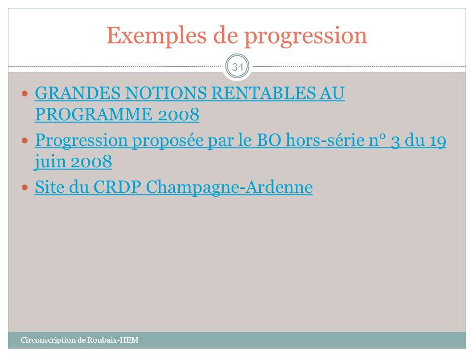 Exemples de progression