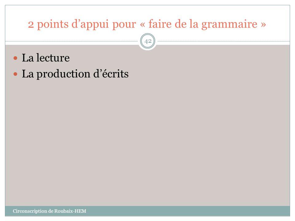 2 points d'appui pour « faire de la grammaire »
