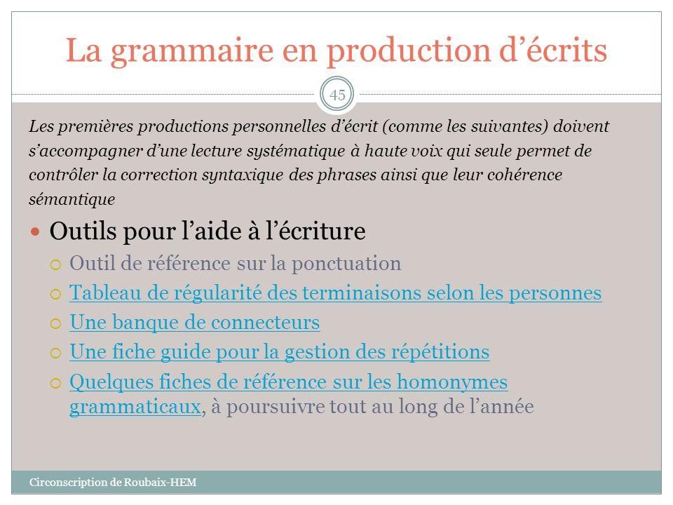 La grammaire en production d'écrits