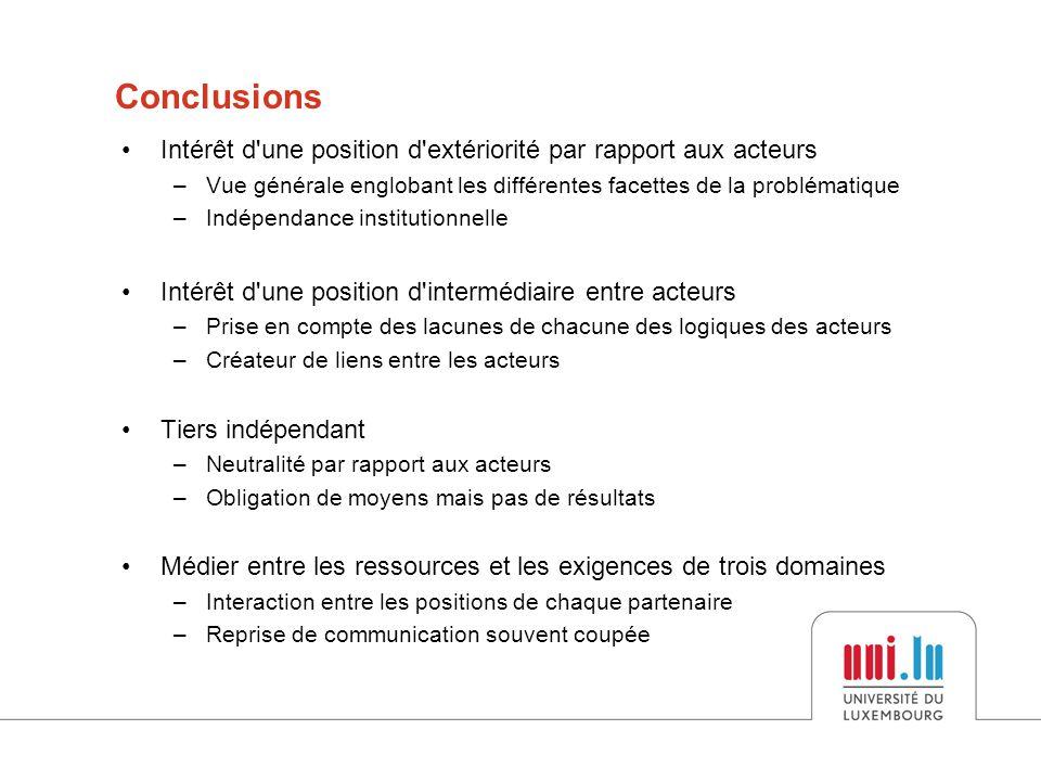 Conclusions Intérêt d une position d extériorité par rapport aux acteurs. Vue générale englobant les différentes facettes de la problématique.