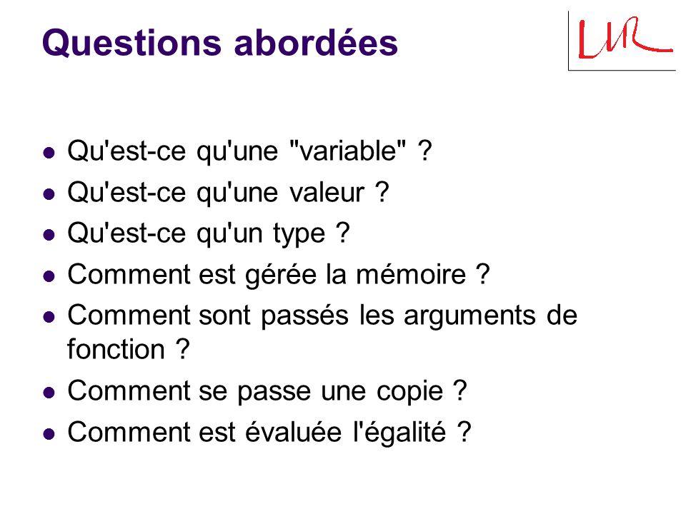 Questions abordées Qu est-ce qu une variable