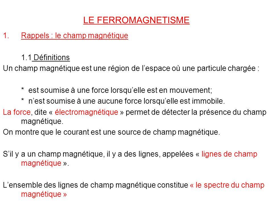 LE FERROMAGNETISME Rappels : le champ magnétique 1.1 Définitions