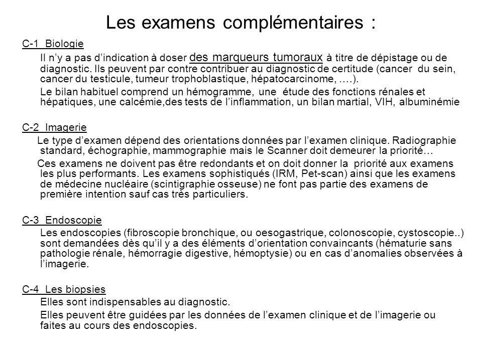 Les examens complémentaires :