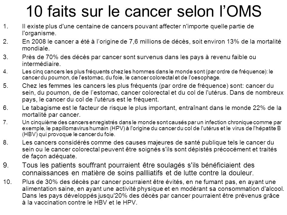 10 faits sur le cancer selon l'OMS