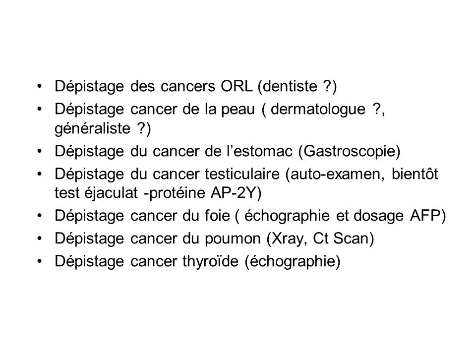Dépistage des cancers ORL (dentiste )