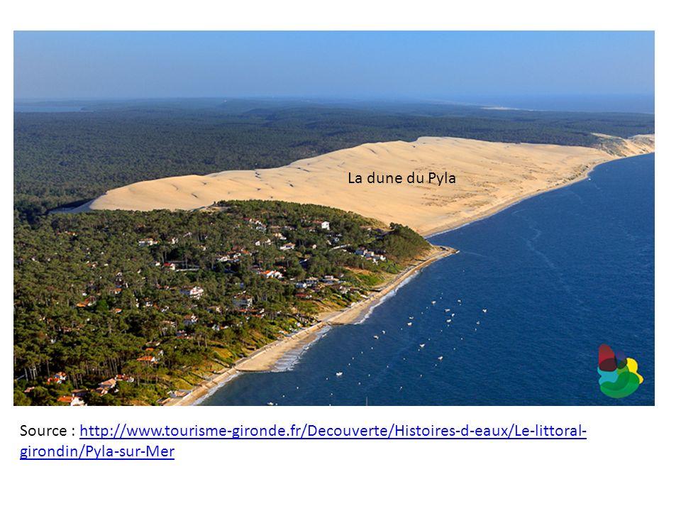 La dune du Pyla Source : http://www.tourisme-gironde.fr/Decouverte/Histoires-d-eaux/Le-littoral-girondin/Pyla-sur-Mer.