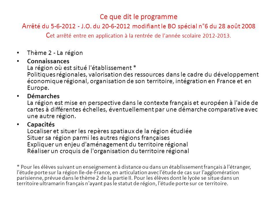 Ce que dit le programme Arrêté du 5-6-2012 - J. O