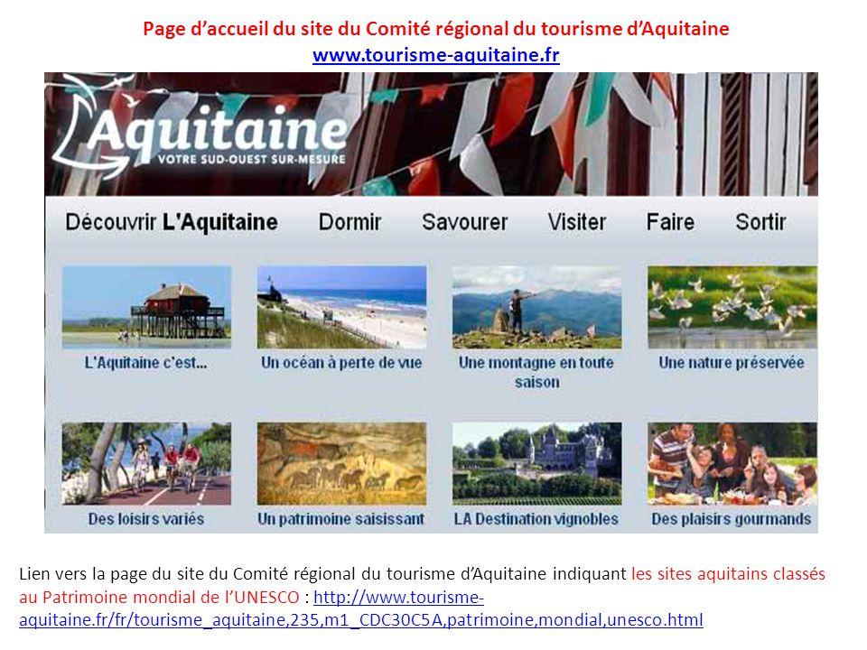 Page d'accueil du site du Comité régional du tourisme d'Aquitaine