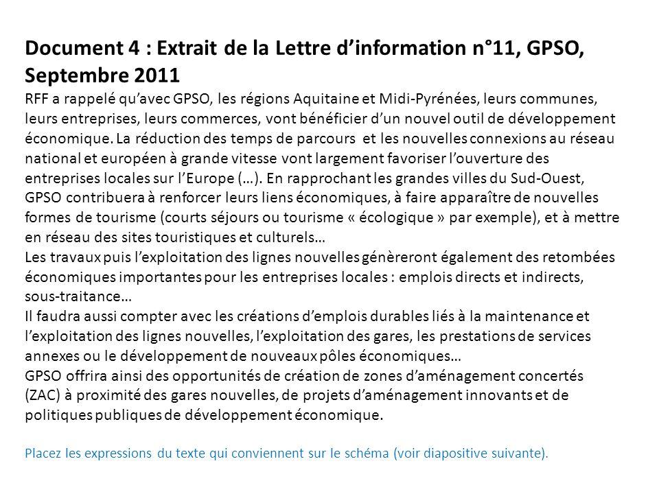 Document 4 : Extrait de la Lettre d'information n°11, GPSO, Septembre 2011 RFF a rappelé qu'avec GPSO, les régions Aquitaine et Midi-Pyrénées, leurs communes, leurs entreprises, leurs commerces, vont bénéficier d'un nouvel outil de développement économique.