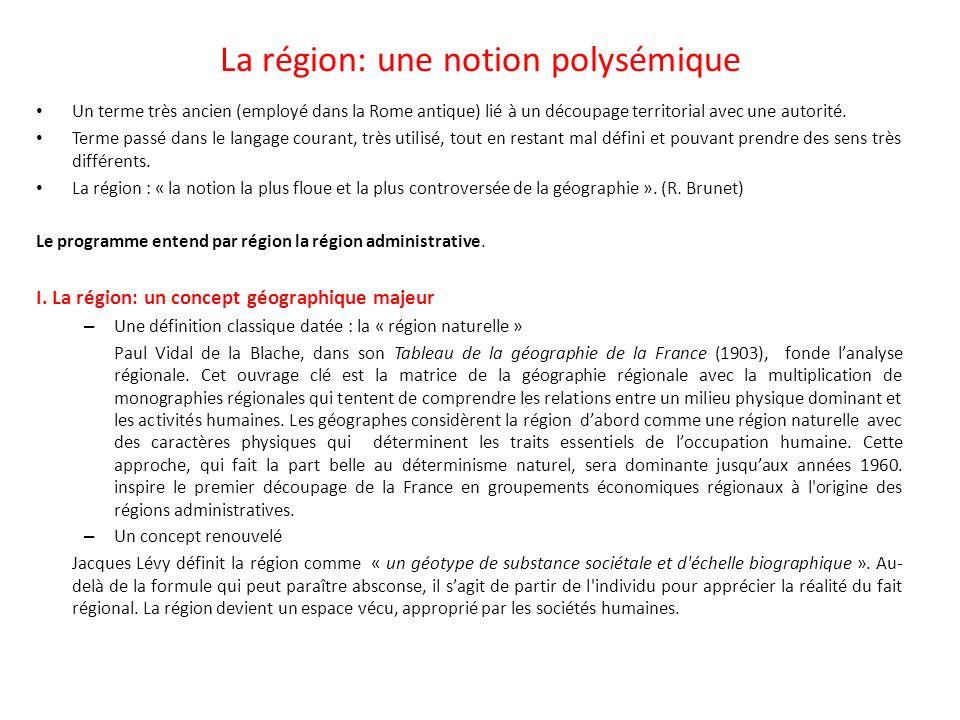 La région: une notion polysémique