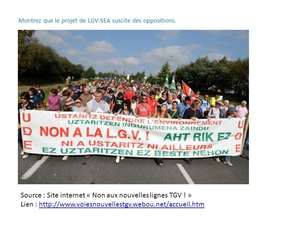 Montrez que le projet de LGV-SEA suscite des oppositions.