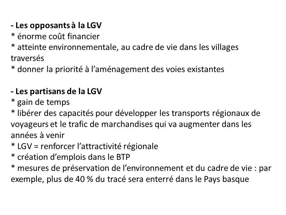 - Les opposants à la LGV. énorme coût financier
