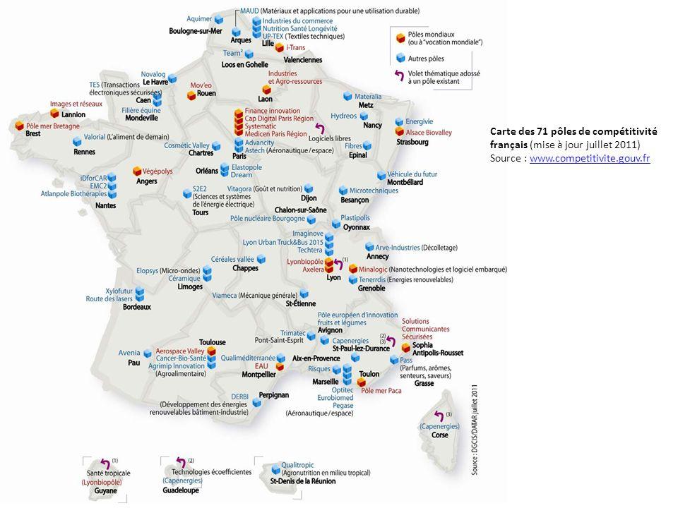 Carte des 71 pôles de compétitivité français (mise à jour juillet 2011)