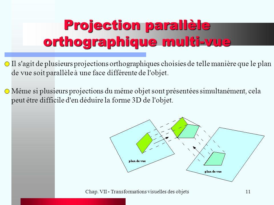 Projection parallèle orthographique multi-vue
