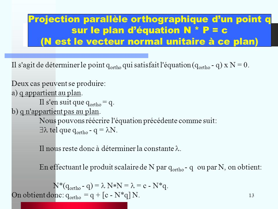 Projection parallèle orthographique d'un point q